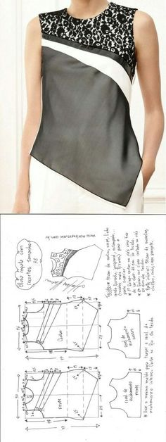 Amazing Sewing Patterns Clone Your Clothes Ideas. Enchanting Sewing Patterns Clone Your Clothes Ideas. Blouse Patterns, Clothing Patterns, Blouse Designs, Sewing Patterns, Sewing Ideas, Fashion Sewing, Diy Fashion, Ideias Fashion, Costura Fashion