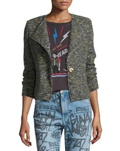 ETOILE ISABEL MARANT Orson Single-Button Tweed Jacket, Green. #etoileisabelmarant #cloth #