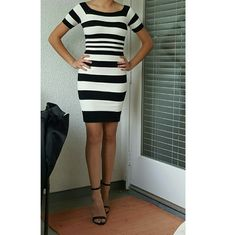 Black&White Bebe Dress! Black&White Dress with distinctive square neck, smooth, short raglan sleeves, bodycon fit, size Small. bebe Dresses