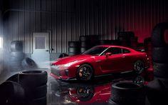 壁紙をダウンロードする Nissan GT-R, トラック版, 2017, 赤いGTR, スポーツ車, チューニングGT-R, 日本車, 黒色車輪, 日産