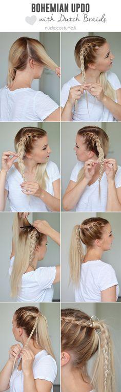 Dutch braid updo tutorial