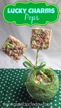 Lucky Charms Pops Recipe by @Tara Harmon Harmon {A Spectacled Owl} - Perfect for St. Patricks Day treats!