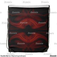 Scarlet Bat Drawstring Bag