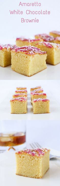Soft, sweet and spiked with almond flavoured amaretto, this white chocolate brownie is an ideal treat for the holidays!