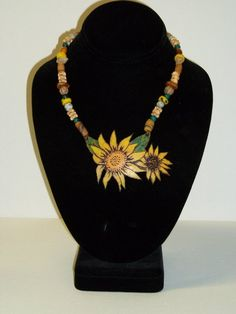 sunflower gourd necklace by Melissa Crites