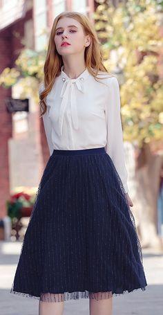 b09bba63b Bow Tie Embroidered Long Sleeves Blouse Chiffon Shirt Roupas Modestas