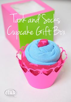 Tank and Socks Cupcake Gift Box Idea for Tweens by Club Chica Circle