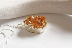 Large Yellow Citrine Druzy Pendant on Long by amorevalkyrie, $79.00