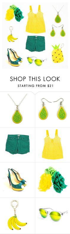 """""""Yellow & green summer women outfit"""" by savousepate ❤ liked on Polyvore featuring FOSSIL, TIBI, Christian Louboutin, Black, Kate Spade and AQS by Aquaswiss"""