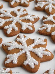 Sparkly Gingerbread Snowflake Cookies