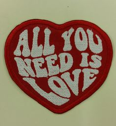 Beatles inspired embroidered applique patch of All You Need Is Love Embroidered Heart Patch with by GoMonogram