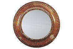 "Raena Mirror, Orange/Green glass mosaic, 30""Dia 189 - orig. 450"