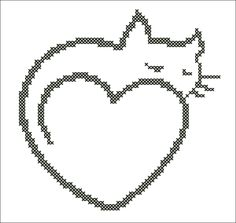 BOGO FREE Cat Heart cross stitch pdf by Rainbowstitchcross Kawaii Cross Stitch, Cross Stitch Heart, Cross Stitching, Cross Stitch Embroidery, Cross Stitch Patterns, Knitting Paterns, African Earrings, Rock Painting Designs, Embroidery Transfers