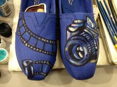 Photography lovers canvas hand painted toms shoes on Etsy, $89.00 If only they werent so expensive :( these are awesome!!
