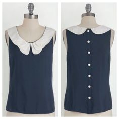 """NWT Modcloth Retro Bike Ride Top Adorable sleeveless top with a white Peter Pan layered collar and a button down back. 100% rayon. No stretch. Machine Washable! Unlined. Length is 21.5"""". Selling for full price on the Modcloth website. Brand new. Color most accurate in first photo. ModCloth Tops"""