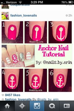 Anchor tutorial nail art- I love it! Gives a summer look>>⚓️