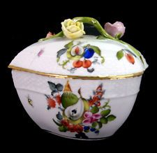 Herend Porcelain Fruits & Flowers  Large Heart Shaped Box