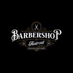 Barbershop logo design vintage lettering on dark Vector Image Vintage Logo Design, Vintage Lettering, Logo Vintage, Rotulação Vintage, Vintage Labels, Logo Barbier, Gentleman Barber Shop, Logo Boulangerie, Barber Logo