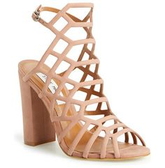 skales cage sandal by Steve Madden. A dramatic strappy cage of supersoft nubuck leather lifted by a chunky, wrapped half-moon heel gi...