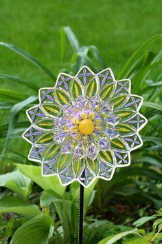 Glass Plate Garden Art  Yard Art Sun Catcher  on by GlassBlooms, $38.00