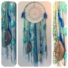 Huge Sparkling Mermaid Dreamcatcher with sea grass, feathers made by Rachael Rice