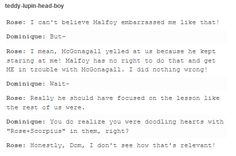 Rose and Dominique talking about Scorpius Malfoy