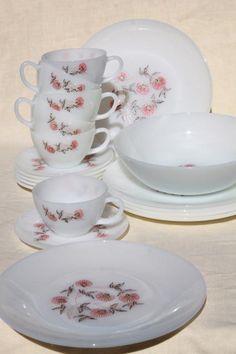 vintage Fire King Fleurette pink flowers milk glass dishes, dinner plates, cups & saucers