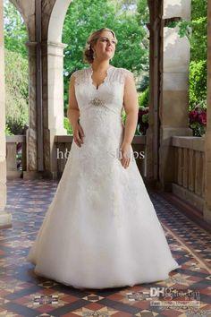 Wholesale Wedding Dresses - Buy Hot New Customized Lace V-Neck A-Line Plus Size Wedding Dresses Cap Sleeve Keyhole Back Beaded Empire Designer Chapel Train $208.0 | DHgate