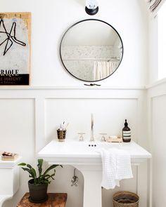 Scott's Bathroom Makeover with Parachute + Shop The Bathroom Line - Emily Henderson Decor, Em Henderson, Bathroom Makeover, Bathroom Mirror, Round Mirror Bathroom, Pedestal Sink Bathroom, Bathrooms Remodel, Bathroom Decor, Bathroom Inspiration