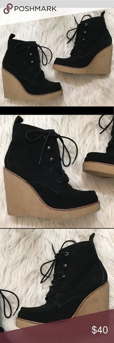 Gap Black Lace Up Wedge Booties Great preowned condition. Not leather - vegan friendly! GAP Shoes Ankle Boots & Booties