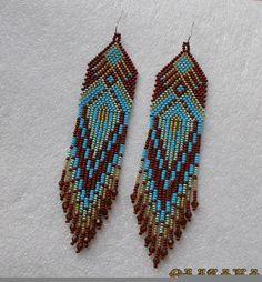 Beautiful beaded dangle peyote earrings with fringe.Native American style, Boho style. Earrings made ​​from Czech beads. Surgical Steel ear wires.