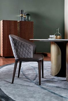 Quilted diamond pattern back chair by Opera Contemporary Metal Furniture, Sofa Furniture, Luxury Furniture, Furniture Design, Dinning Table Design, Dining Table Chairs, Contemporary Chairs, Minimalist Interior, Chair Design
