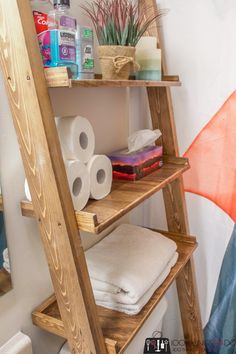 Toilet Shelves, Bathroom Shelves, Bathroom Storage, Bathroom Ideas, Extra Storage Space, Storage Spaces, Scrap Wood Projects, Diy Projects, Organizing Your Home