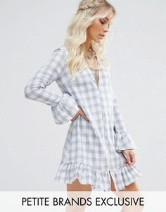 Glamorous Petite Mini Ruffle Swing Dress In Gingham Print