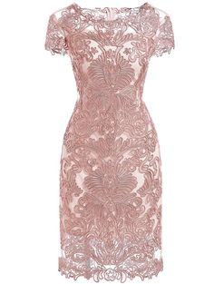 Pink Round Neck Short Sleeve Bodycon Lace Dress: