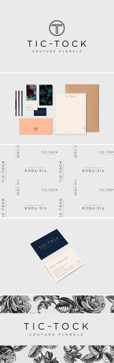 Branding / Print Design / Packaging / Logo Design / Graphic Design / Business Card Design / Bliss & Bone https://blissandbone.com/custom-design?tic-tock-florals