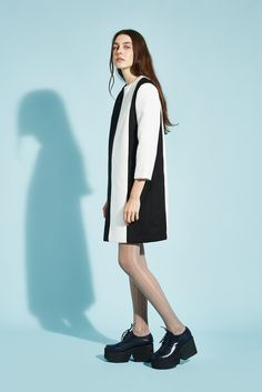 Stripe Wool Dress Black and Ivory - THE WHITEPEPPER http://www.thewhitepepper.com/collections/winter-drop-1/products/c