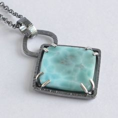 larimar stone sterling silver square pendant by laurenmeredith - Silver Jewelry Metal Jewelry, Pendant Jewelry, Jewelry Sets, Sterling Silver Jewelry, Gemstone Jewelry, Jewelry Accessories, Jewelry Necklaces, Jewelry Design, Jewelry Making