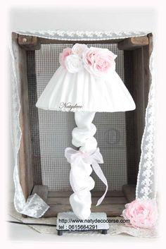 Cache pied de lampe en lin blanc ou rose ou couleur lin en vente sur mon site http://www.natydecocorse.com