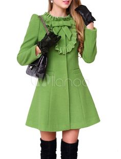 Stand Collar Long Sleeves Bows Decor Pleated Woman's Outerwear - Milanoo.com