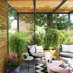 Terrasse Lounge selberbauen Covered Patio Designs - What Options Do You Have? Small Outdoor Patios, Outdoor Rooms, Outdoor Living, Outdoor Decor, Small Patio, Outdoor Lounge, Outdoor Seating, Backyard Patio Designs, Pergola Patio