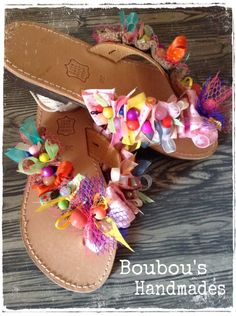 Handmade leather sandals! Colorful ribbons And beads! DIY