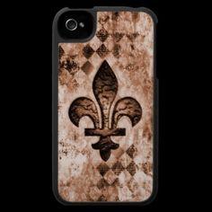 Grunge Fleur De Lis iPhone Case