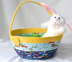 I handmade this cute Blue and Yellow Easter Basket... All of my Easter baskets are unique and handmade by me.... by WexfordTreasures on Etsy