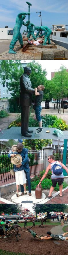 Having Fun With Statues - This makes me want to search the world for statues to do funny things to.