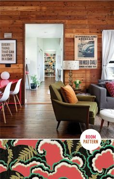 Those walls. Those walls. Great blend of contemporary and traditional mid-century mod living room furniture. The overall style is very cottage-chic, and you can tell the residence have put their mark on the space with collectables and personal artwork.