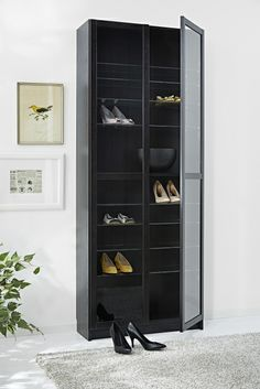 A BILLY bookcase works as well in the bedroom as it does in the study.  Instead of books, use it to display your smart looking shoes.