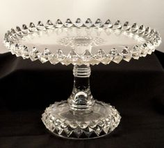Antique 1890 Bryce Brothers AMAZON Crystal EAPG High Pedestal Victorian Cake Stand Plate