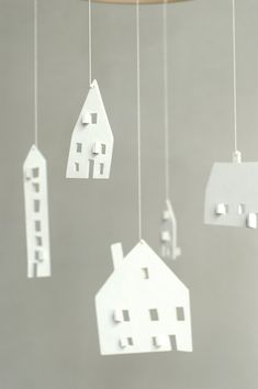 baby mobile - nursery mobile - baby crib mobile - wooden mobile- house mobile - CLOUD HOUSES - ready to ship