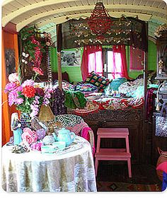 Gypsy wagon decor - cute boho look with lots of green and pink!